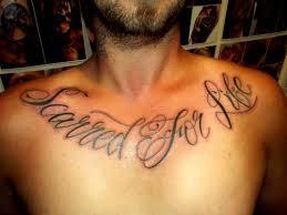 cursive script on chest