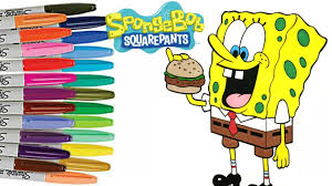 spongebob squarepants coloring book page how to color for kids