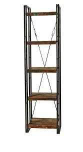 furniture reclaimed wood metal narrow bookcase and totem bookcase