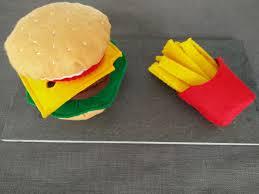 jeux de cuisine frite hamburger en feutrine avec ses frites hamburger feutrine et