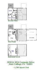 Floor Plans For Duplexes 3 Bedroom 3050 3054 Carnegie Drive State College Pa 16803 Park Forest