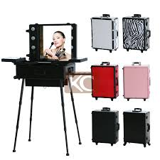 professional makeup station aluminum professional rolling makeup beauty with lighted