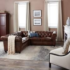 Sectional Sofa Pieces Abbyson Tuscan Tufted Top Grain Leather 3 Sectional Sofa