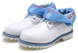 timberland authentic roll top boot light blue white