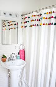 Childrens Shower Curtains by A Beautiful Mess Bathroom Makeover Tassel Shower Curtain Love