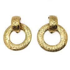 80s earrings chanel hoop logo gold plated 80s earrings gibson jewellery
