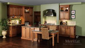 bathroom brown merillat cabinets plus silver oven and tv plus