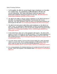 hardy weinberg problem set answer key name