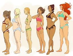 Female Body Anatomy Drawing Sketches Of Ladies Of Different Shapes And Heights Lady Doodles