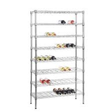 chrome wine rack with 8 shelves that holds 72 bottles of wine