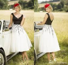 Tea Length Wedding Dress Discount 2017 Chic White And Black Tea Length Wedding Dresses