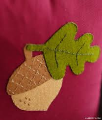 felt applique acorn pillow lia griffith