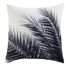 tissu bord de mer coussin en tissu noir et blanc imprimé palmier 45x45cm aroha