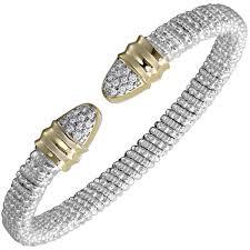 bracelet diamond yellow images Sterling silver 14k yellow gold pave diamond bangle bracelet jpg