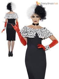 ladies cruella costume black white wig dalmatian ladies fancy