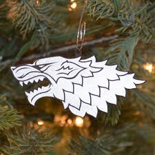 dire wolf christmas ornament set of six game of thrones inspired