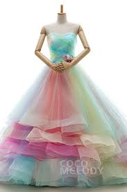multi color wedding dress a line sweetheart chapel tulle multicolor sleeveless