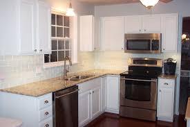 awesome white glass subway tile kitchen backsplash home design