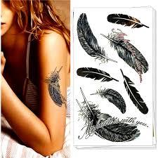 temporary tattoo body art black angel feather flash tattoo