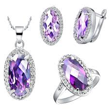 necklace with purple stone images Best 18k white gold plated silver jewelry set love oval purple jpg