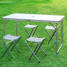 finether height adjustable aluminum folding table and stool set 1