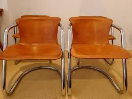 Italian Leather Dining Chairs Italian Brown Leather Dining Chairs By Willy Rizzo 1970s Set Of