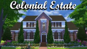 Southern Colonial House Sims 4 Colonial Estate Speed Build Youtube