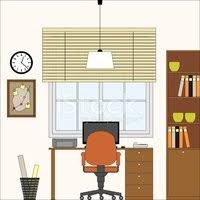 home interior vector home office flat interior vector illustration stock vectors