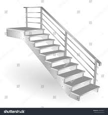 Chrome Banister Metal Stairs Sample Staircase 3d Isolated Stock Vector 495959401