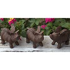 cast iron flying pig garden statue patio yard coin
