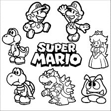 super mario coloring page 01 cross stitch mario u0026 luigi