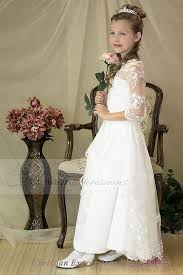 communion dress three quarter sleeves lace organza communion dress with