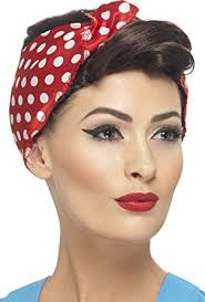 polka dot hair smiffy s women s 40 s brown rosie wig with polka dot