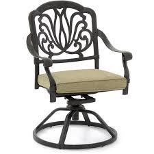 rosedown cast aluminum patio swivel rocker dining chair by