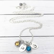 birthstones necklace for silver birthstones sted initials necklace for