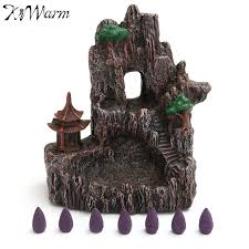 kiwarm mountain waterfall backflow ceramic incense burner with 7