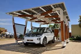 bmw u0027s solar carport and charger concept is a smart match for new