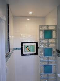 colored glass block shower in a small bathroom renovation san