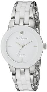 white ceramic bracelet images Anne klein women 39 s ak 1611wtsv diamond dial silver jpg