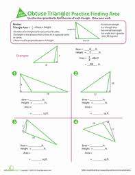 Area And Perimeter Of A Triangle Worksheet Obtuse Triangle Practice Finding Area Worksheet Education Com