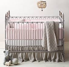 Roses Crib Bedding Garment Dyed Crochet Linen Linen Nursery Bedding Collection
