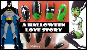 halloween love story nail art design batman bride of