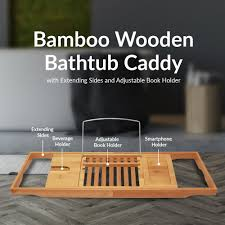 bathtub caddy with book holder amazon com toilettree products bamboo bathtub caddy with extending