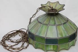 leaded glass shade light fixture green stained pendant within