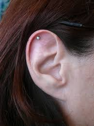 piercing with gold stud for ear