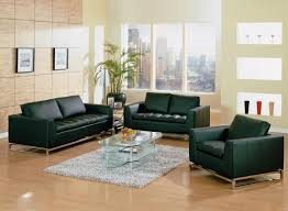 Simple Living Room Furniture Sets Modern Black Manhattan Models Freestanding Leather Sofa Sets Come