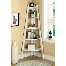 furniture corner white wooden ladder shelf with four base and