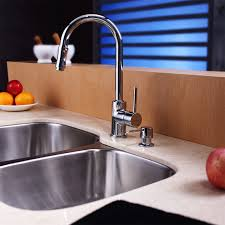 Faucet And Soap Dispenser Placement Kraus Kbu24 Kpf1622 Ksd30ch Stainless Steel Double Bowl Kitchen