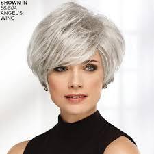 salt and pepper pixie cut human hair wigs gray wigs gray hair wigs paula young