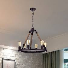 Chandelier Rustic Claxy Rustic Rope 6 Light Candle Style Chandelier Wayfair